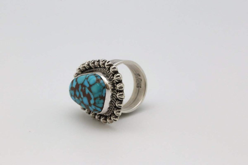 Navajo Ring with Villa Grove Turquoise-Lema's Kokopelli Gallery