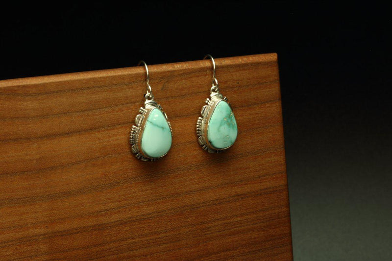 Navajo Royston Turquoise Earrings-Lema's Kokopelli Gallery