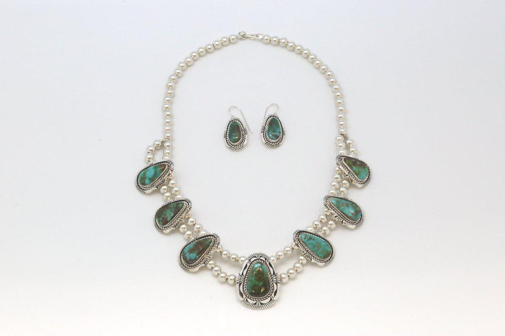 Navajo Necklace & Earring Set with Royston Turquoise-Lema's Kokopelli Gallery