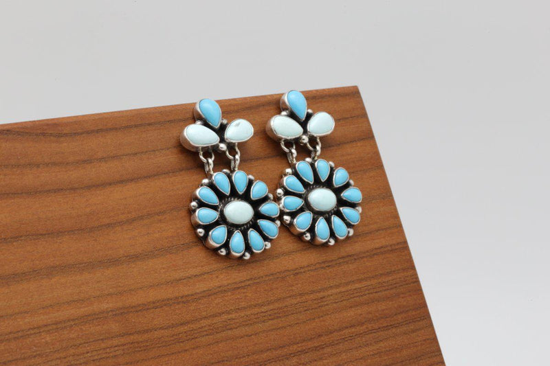 Navajo Sleeping Beauty & Dry Creek Turquoise Earrings-Lema's Kokopelli Gallery