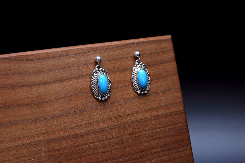 Navajo Sleeping Beauty Turquoise Earrings-Lema's Kokopelli Gallery