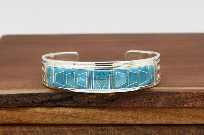 Navajo Sleeping Beauty Turquoise Inlay Bracelet-Lema's Kokopelli Gallery