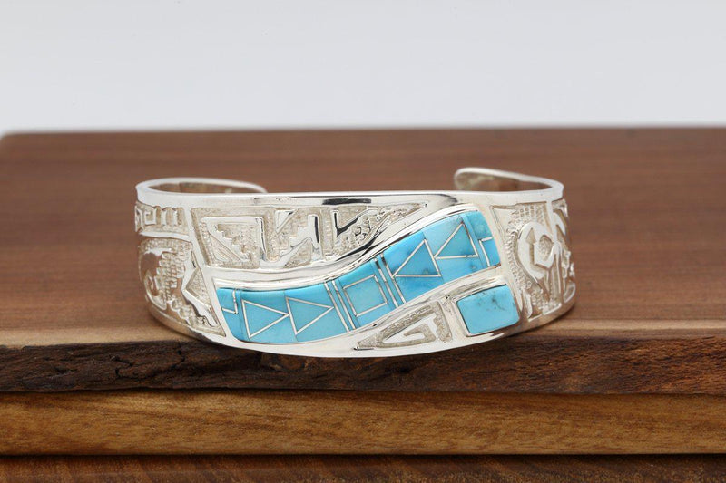 Navajo Sleeping Beauty Turquoise Inlay Contemporary Bracelet-Lema's Kokopelli Gallery
