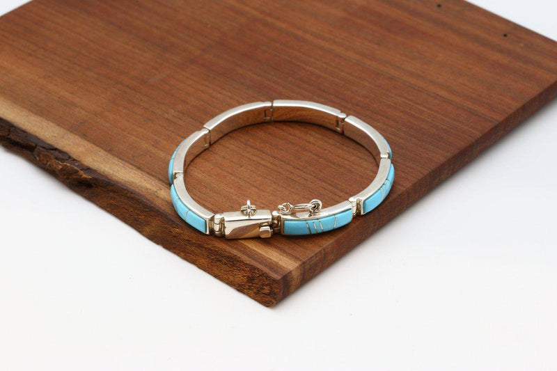 Navajo Sleeping Beauty Turquoise Inlay Link Bracelet-Lema's Kokopelli Gallery