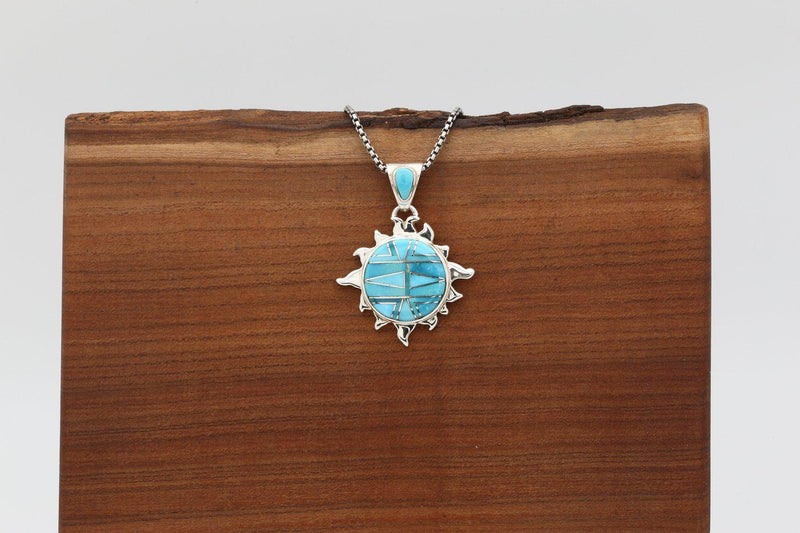Navajo Sleeping Beauty Turquoise Inlay Sun Pendant-Lema's Kokopelli Gallery