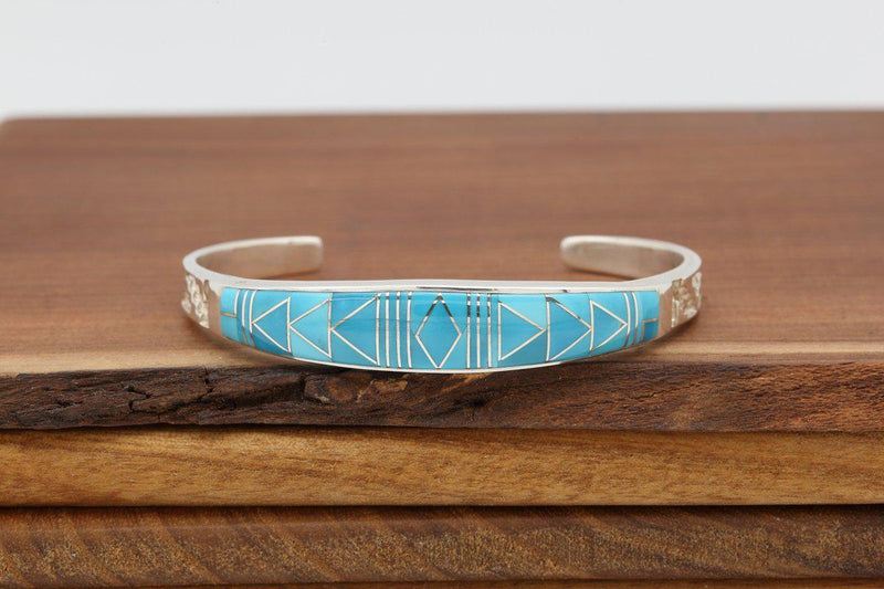Navajo Sleeping Beauty Turquoise Inlay Tapered Bracelet-Lema's Kokopelli Gallery