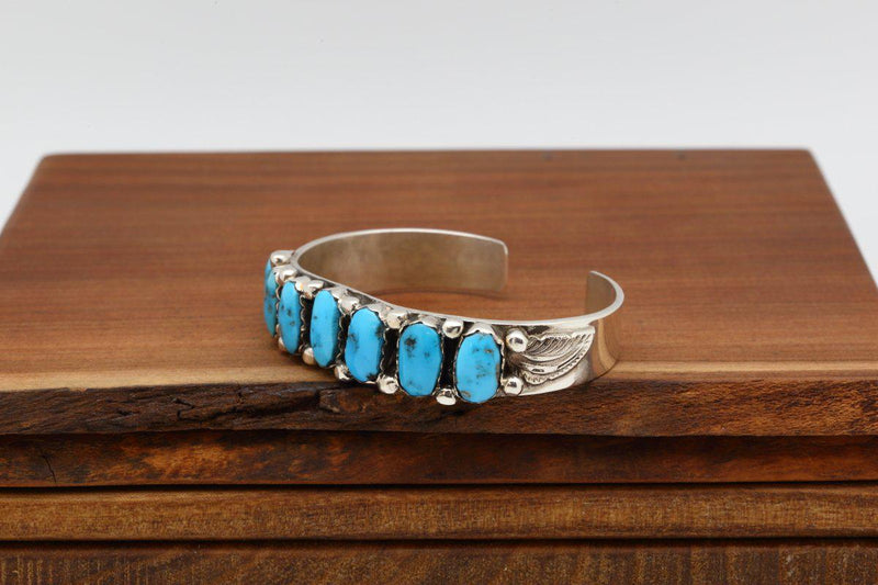 Navajo Sleeping Beauty Turquoise Multistone Bracelet-Lema's Kokopelli Gallery