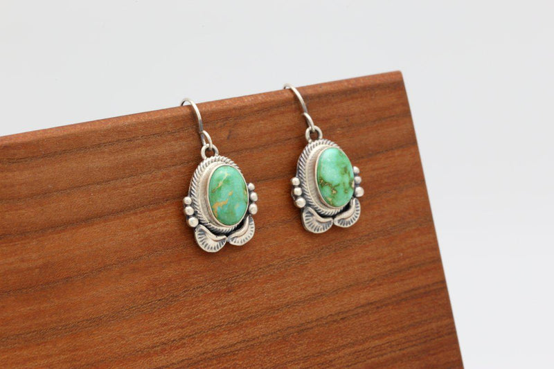 Navajo Sonoran Turquoise Dangle Earrings-Lema's Kokopelli Gallery