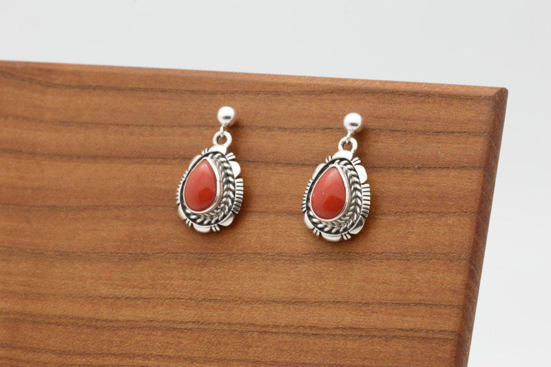 Navajo Teardrop Red Coral Earrings-Lema's Kokopelli Gallery