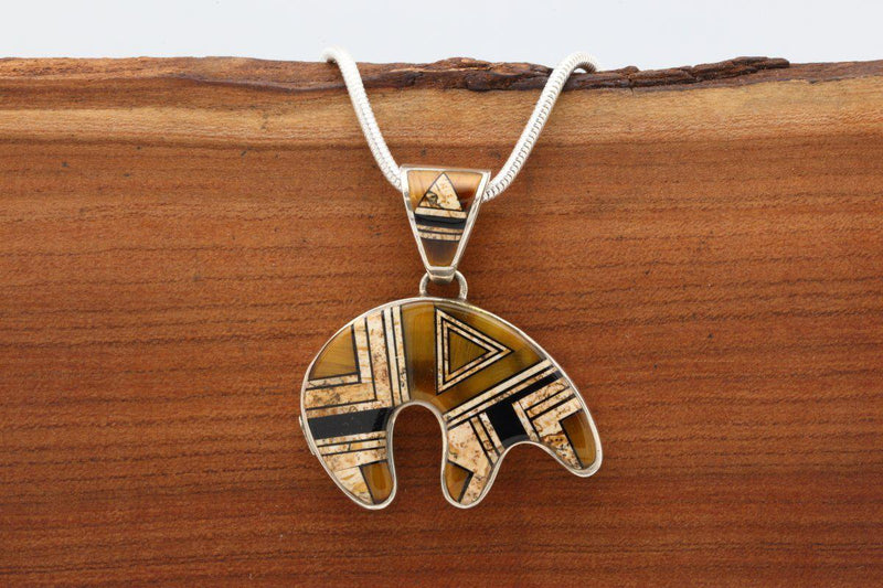 Navajo Tigers Eye Inlay Bear Pendant-Lema's Kokopelli Gallery