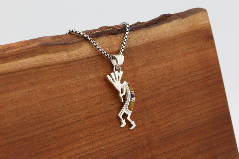 Navajo Tigers Eye Inlay Kokopelli Pendant-Lema's Kokopelli Gallery