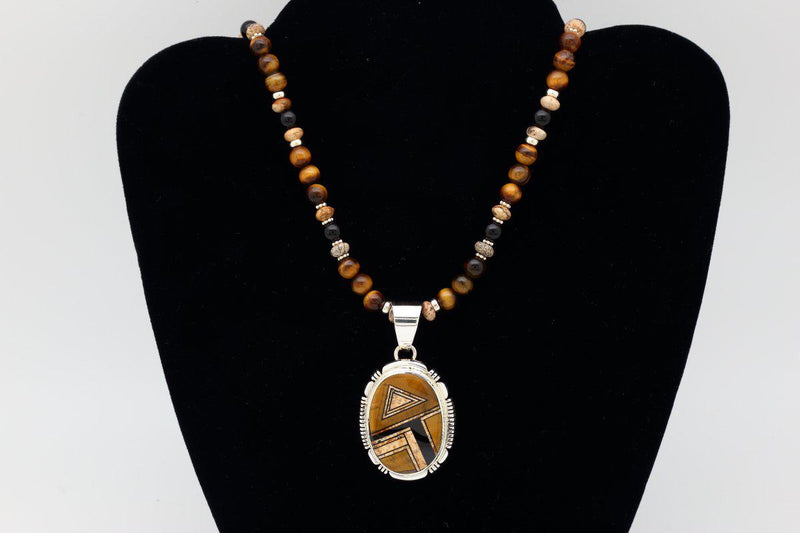 Navajo Tigers Eye Inlay Pendant-Lema's Kokopelli Gallery