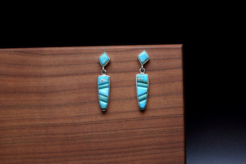 Navajo Turquoise Inlay Earrings-Lema's Kokopelli Gallery