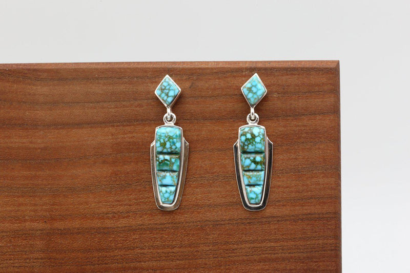 Navajo Turquoise Mountain Turquoise Inlay Earrings-Lema's Kokopelli Gallery