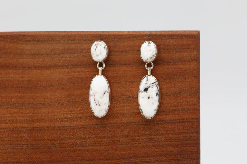 Navajo White Buffalo Earrings-Lema's Kokopelli Gallery