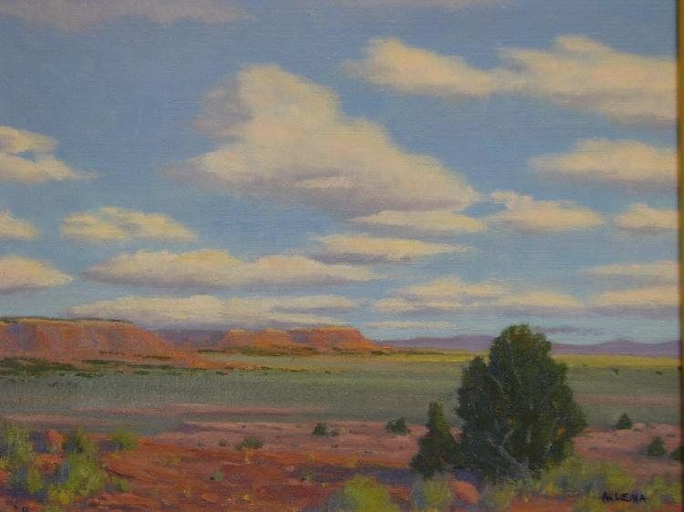 On The Move Clouds and Southwest Oil Painting on Canvas-Lema's Kokopelli Gallery
