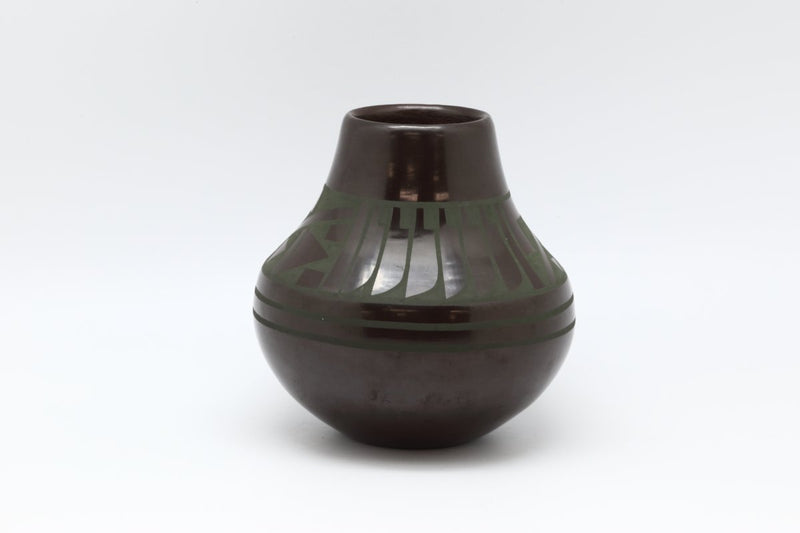 San Ildefonso Dark Green Pot-Lema's Kokopelli Gallery