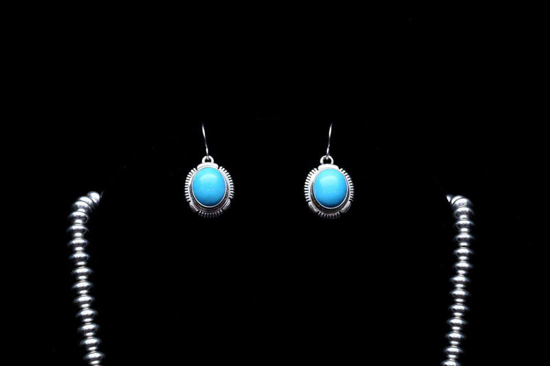Sleeping Beauty Turquoise Necklace Earring Set-Lema's Kokopelli Gallery