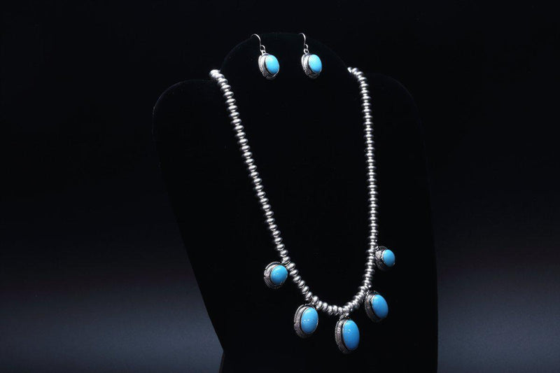 Navajo Necklace & Earring Set with High Grade Natural Sleeping Beauty Turquoise-Lema's Kokopelli Gallery
