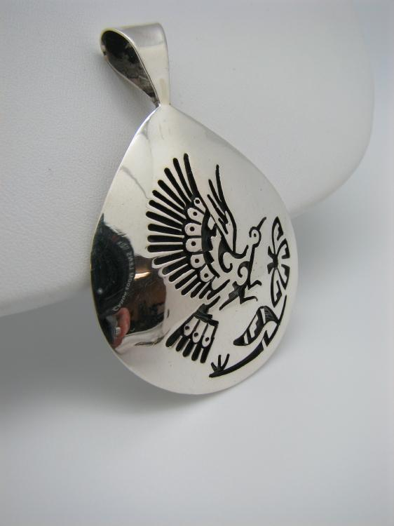 Thunderbird Hopi Pendant with Flower-Lema's Kokopelli Gallery