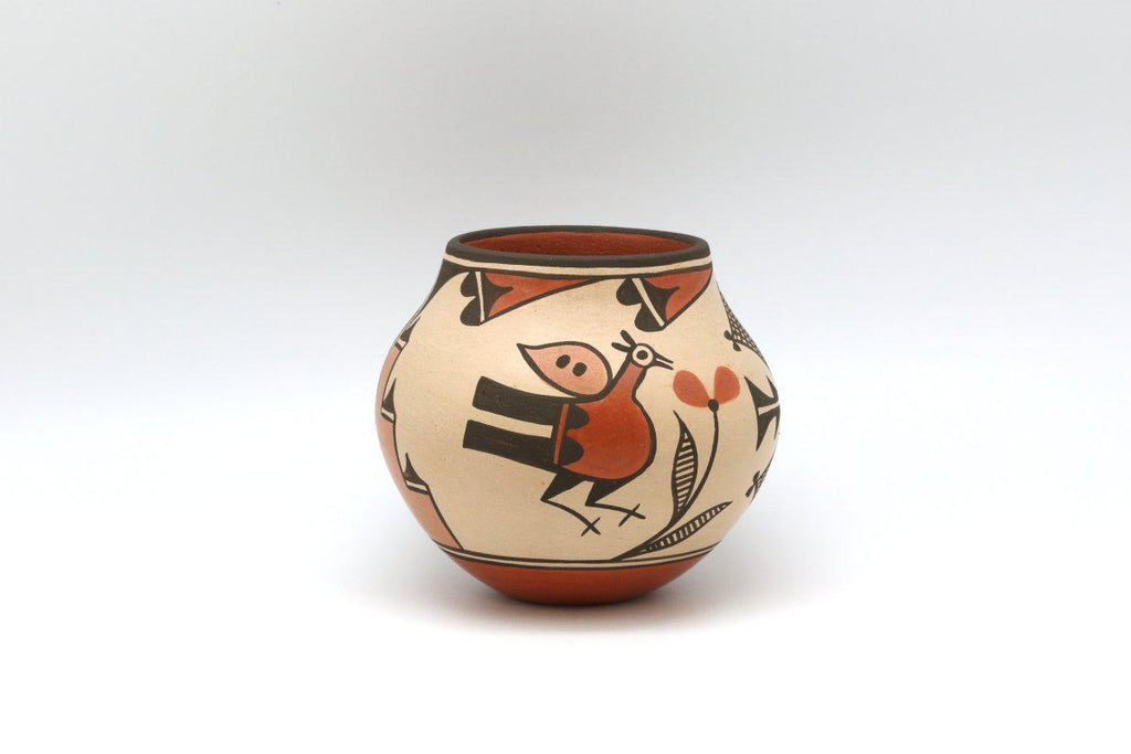 Zia Polychrome Bird Pot-Lema's Kokopelli Gallery