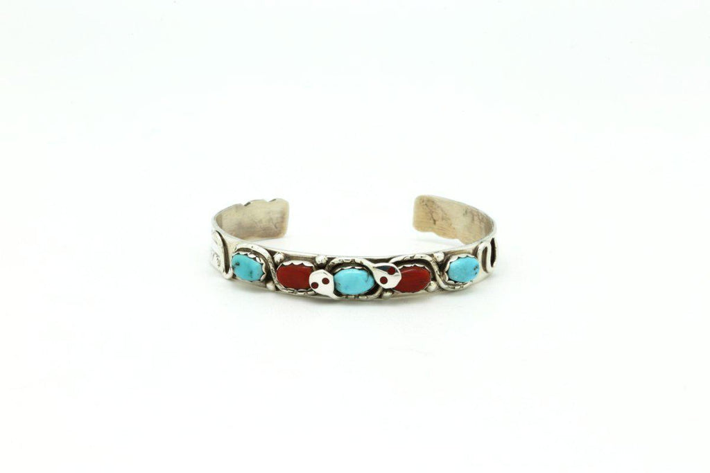 Zuni Bracelet with Red Coral and Kingman Turquoise-Lema's Kokopelli Gallery