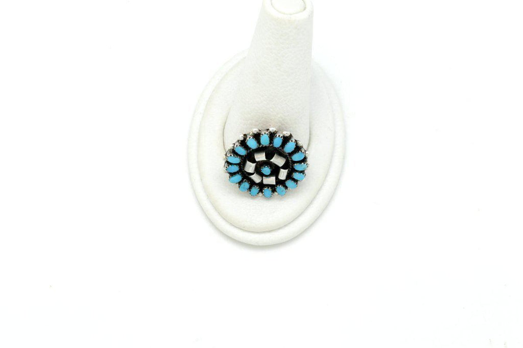 Zuni Circle Brooch with Kingman Turquoise-Lema's Kokopelli Gallery