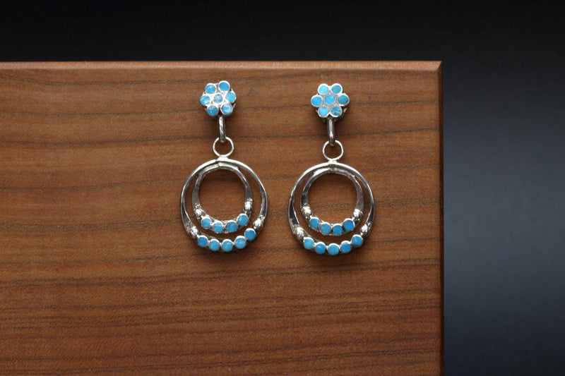Zuni Contemporary Turquoise Earrings-Lema's Kokopelli Gallery