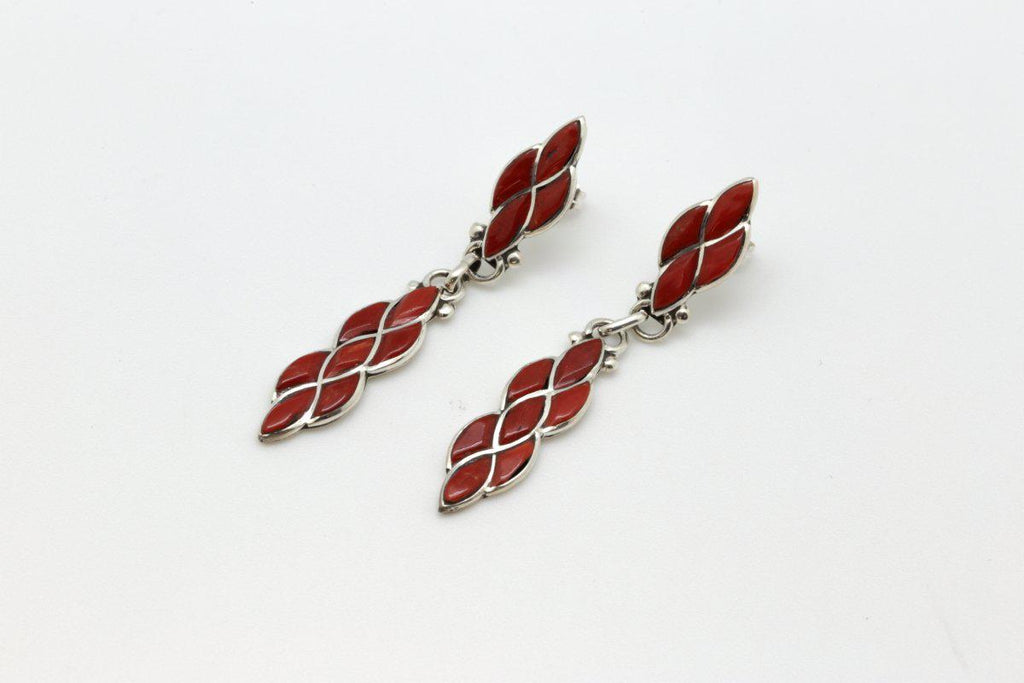 Zuni Dangle Red Coral Earrings-Lema's Kokopelli Gallery