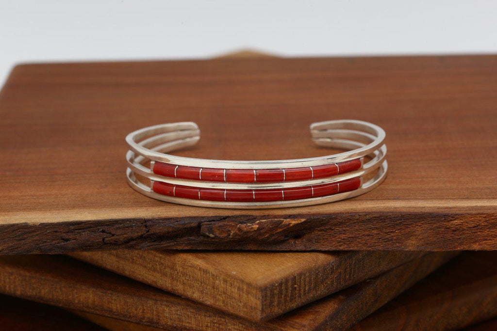 Zuni Double Row Red Coral Bracelet-Lema's Kokopelli Gallery