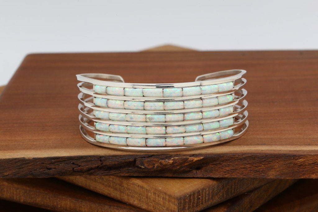 Zuni Five Row Opal Bracelet-Lema's Kokopelli Gallery
