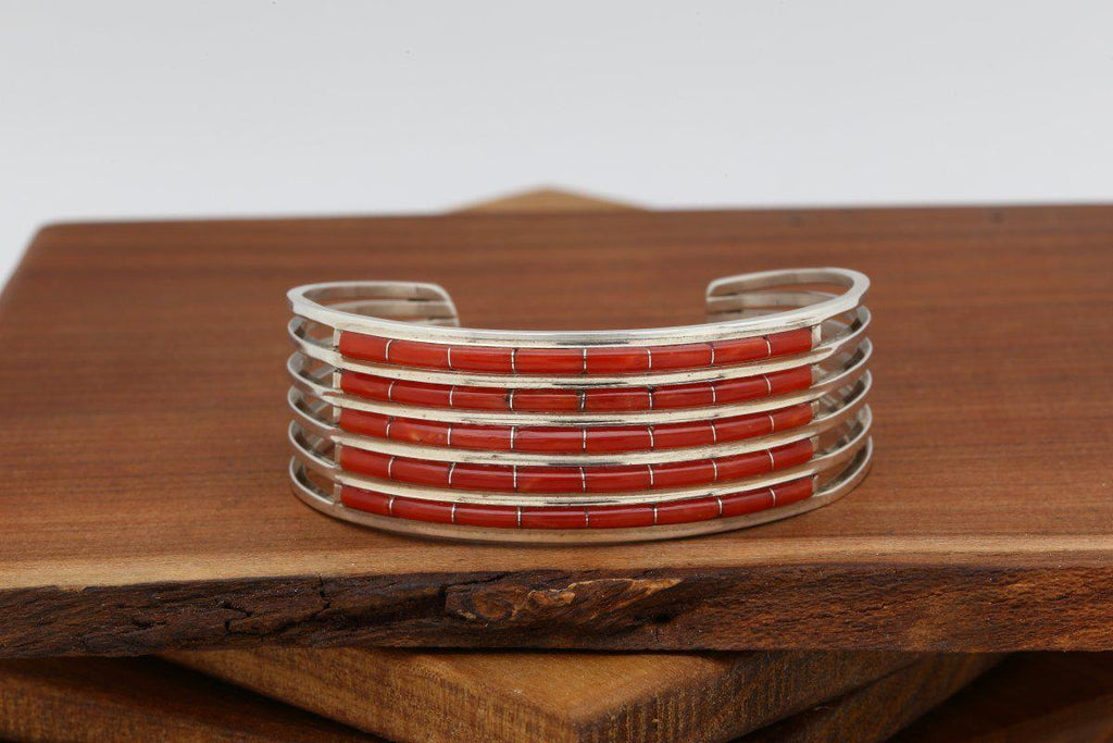 Zuni Five Row Red Coral Bracelet-Lema's Kokopelli Gallery