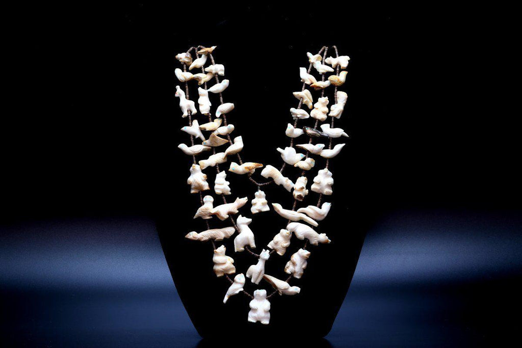 Zuni Fossilized Walrus Tusk Fetish Necklace-Lema's Kokopelli Gallery