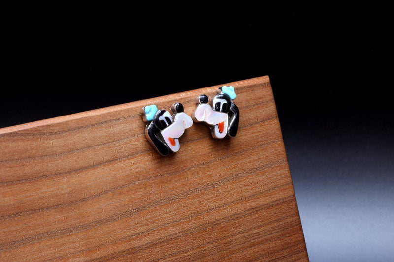 Zuni Goofy Multi Color Inlay Earrings-Lema's Kokopelli Gallery