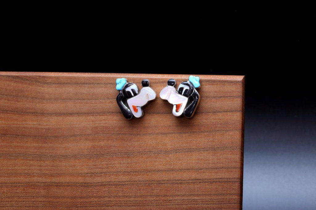 Zuni Goofy Multicolor Inlay Earrings-Lema's Kokopelli Gallery