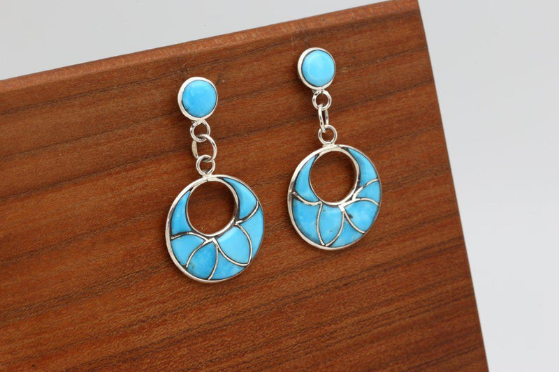 Zuni Kingman Turquoise Dangle Earrings-Lema's Kokopelli Gallery