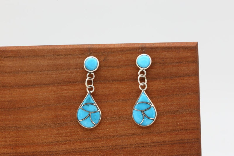Zuni Kingman Turquoise Inlay Earrings-Lema's Kokopelli Gallery