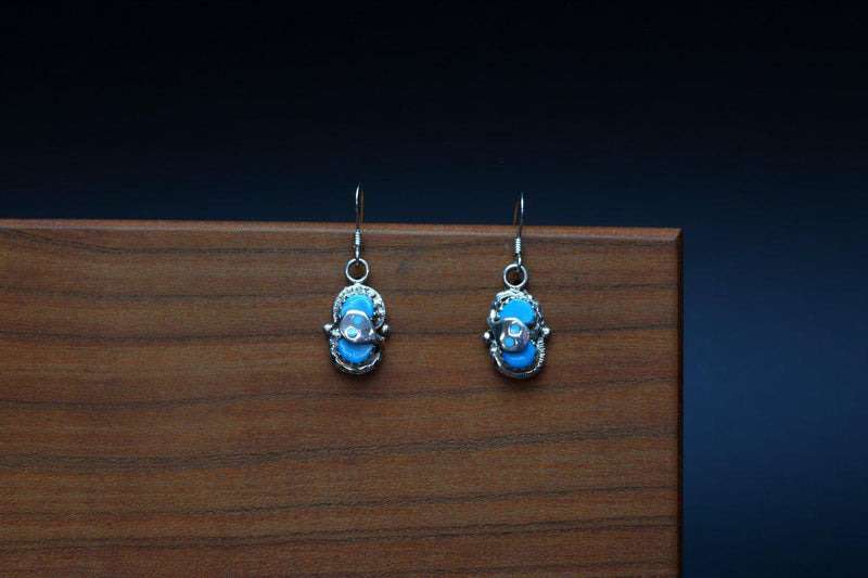 Zuni Kingman Turquoise Snake Earrings-Lema's Kokopelli Gallery