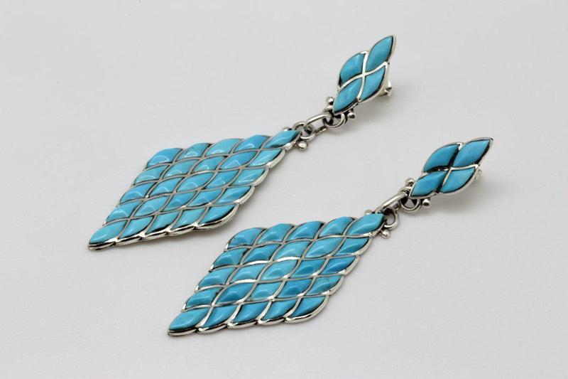 Zuni Long Dangle Diamond Shaped Turquoise Earrings-Lema's Kokopelli Gallery