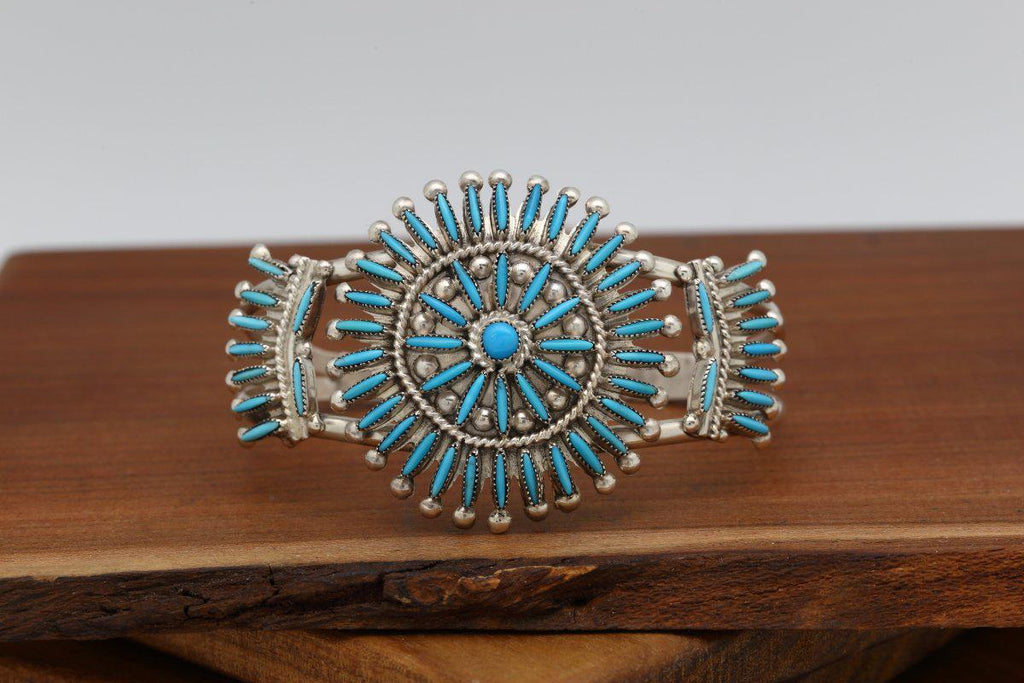 Zuni Multi Piece Sleeping Beauty Turquoise Bracelet-Lema's Kokopelli Gallery