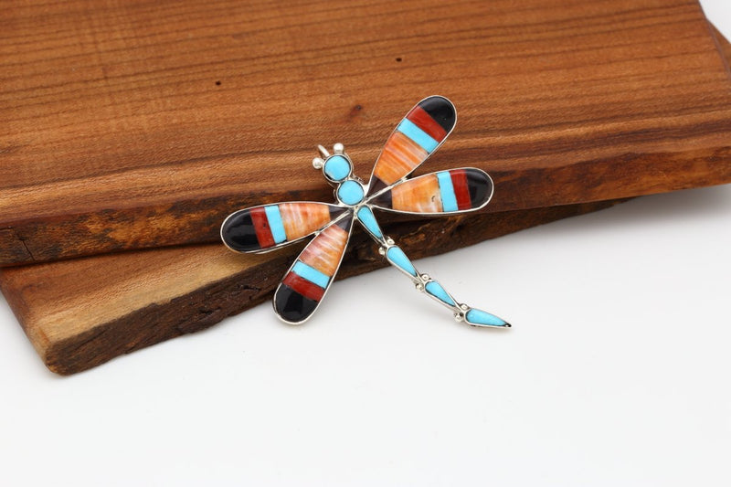 Zuni Multicolor Dragonfly Brooch-Lema's Kokopelli Gallery
