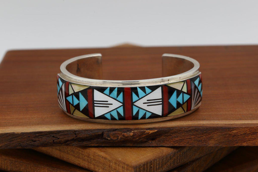 Zuni Multicolor Inlay Bracelet-Lema's Kokopelli Gallery