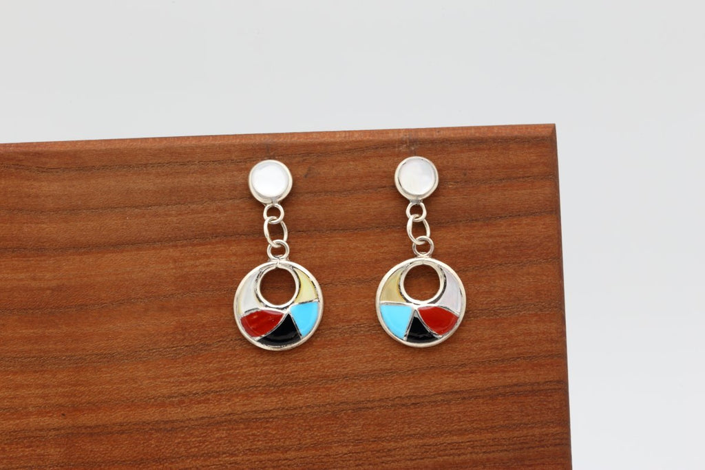 Zuni Multicolor Inlay Earrings-Lema's Kokopelli Gallery