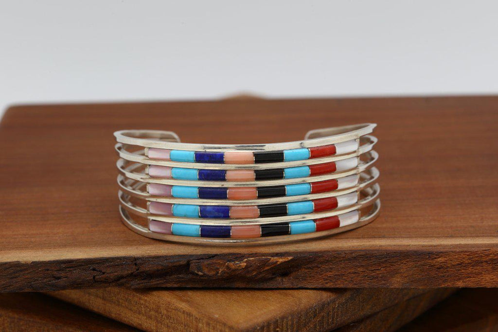 Zuni Multicolor Inlay Five Row Bracelet-Lema's Kokopelli Gallery