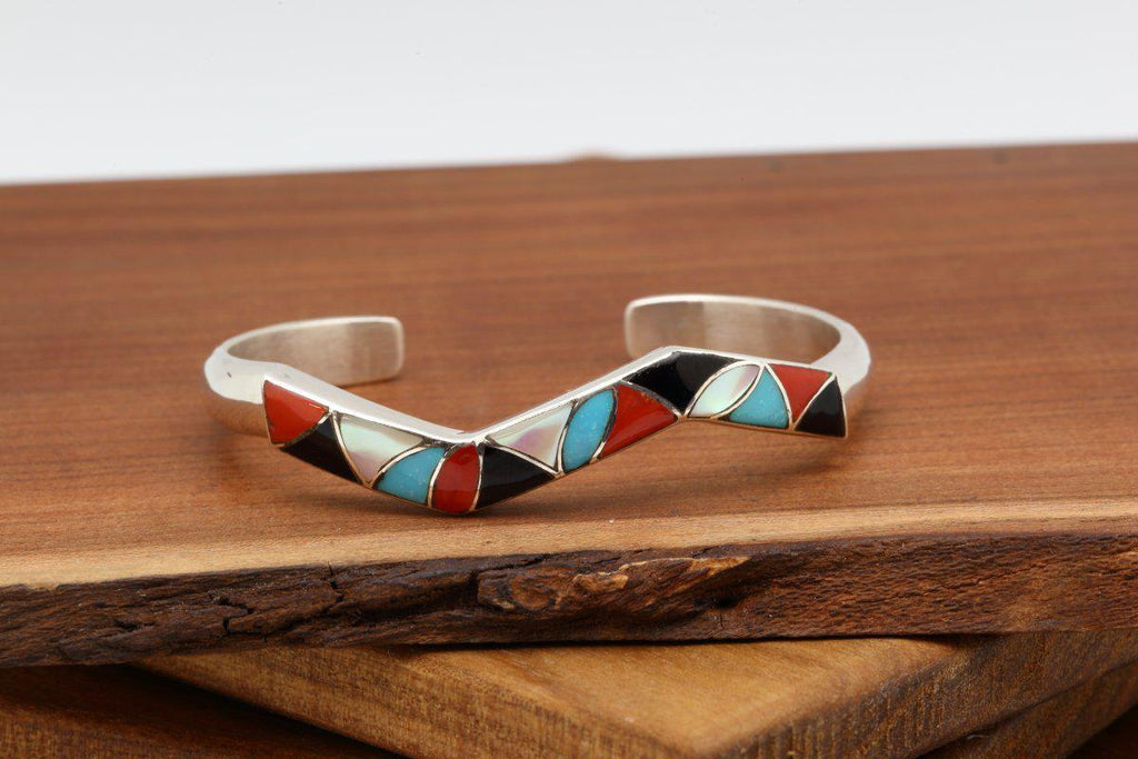 Zuni Multicolor Inlay Lightning Bracelet-Lema's Kokopelli Gallery