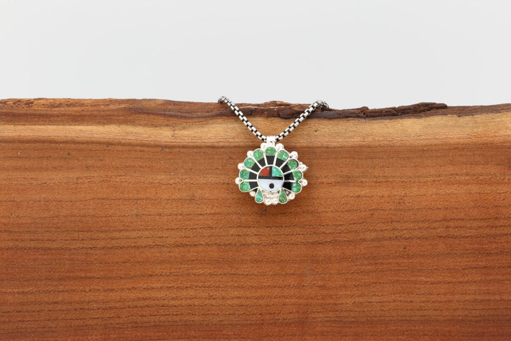 Zuni Multicolor Inlay Sunface Pendant-Lema's Kokopelli Gallery