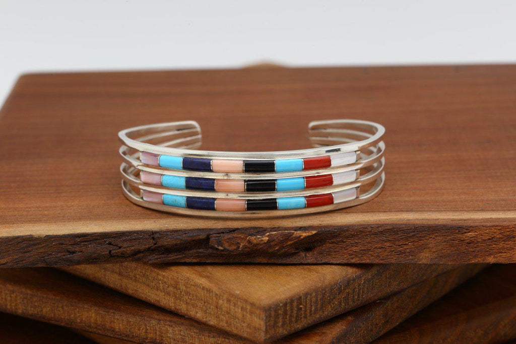 Zuni Multicolor Inlay Three Row Bracelet-Lema's Kokopelli Gallery