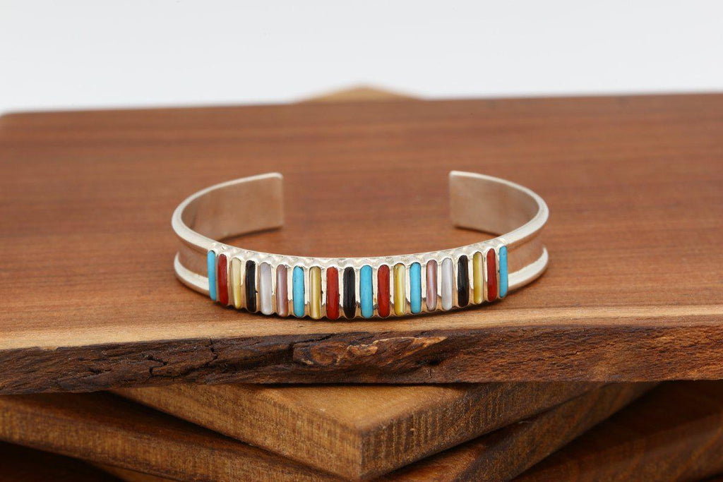 Zuni Multicolor Vertical Inlay Bracelet-Lema's Kokopelli Gallery