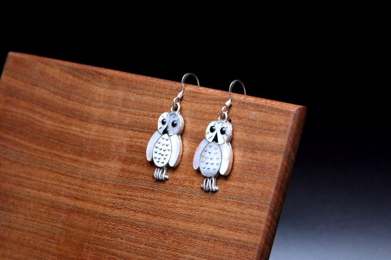 Zuni Inlay Owl Dangle Earrings-Lema's Kokopelli Gallery