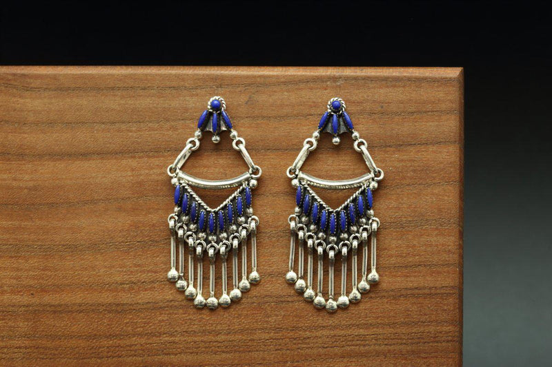 Zuni Petit Point Lapis Earrings-Lema's Kokopelli Gallery